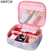 Neceser waterproof Women Makeup bag Cosmetic bag Case Travel Make Up Toiletry bag Organizer Storage pouch set box professional