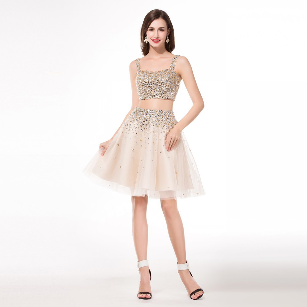 Champagne Crystal Homecoming Dresses Dillards Spaghetti Straps Knee