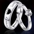 sterling silver ring opening  female valentine heart ring  lovers jewelry gift silver 925 jewelry couple rings