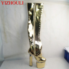 Sexy 18-centimeter-square over-the-knee boots, stage walking shoes, nightclub pole dancing Dance Shoes