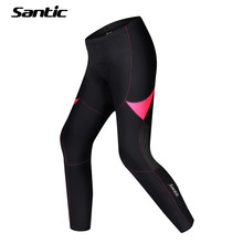 Santic Women Cycling Full-Pants Breathable Bicycle Jersey Mtb Pants Bike Black Tights Thermal Fleece