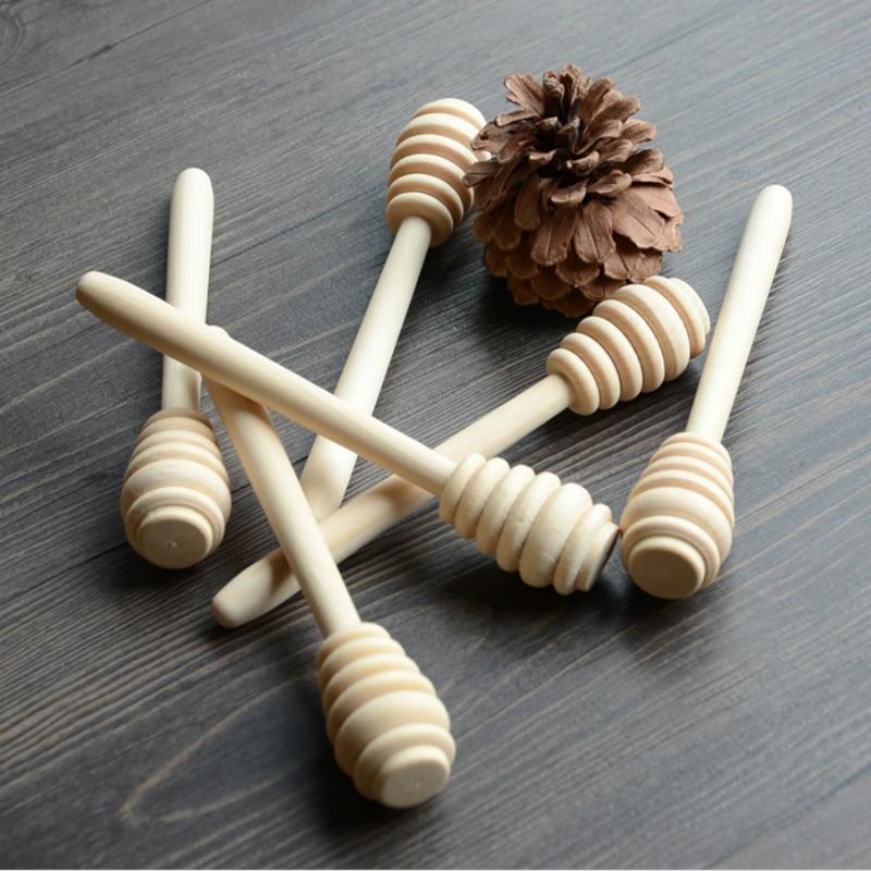 50pcslot Wooden Honey Spoon Honey Dipper Stick Tea Coffee Stirring Rod 14cm Length