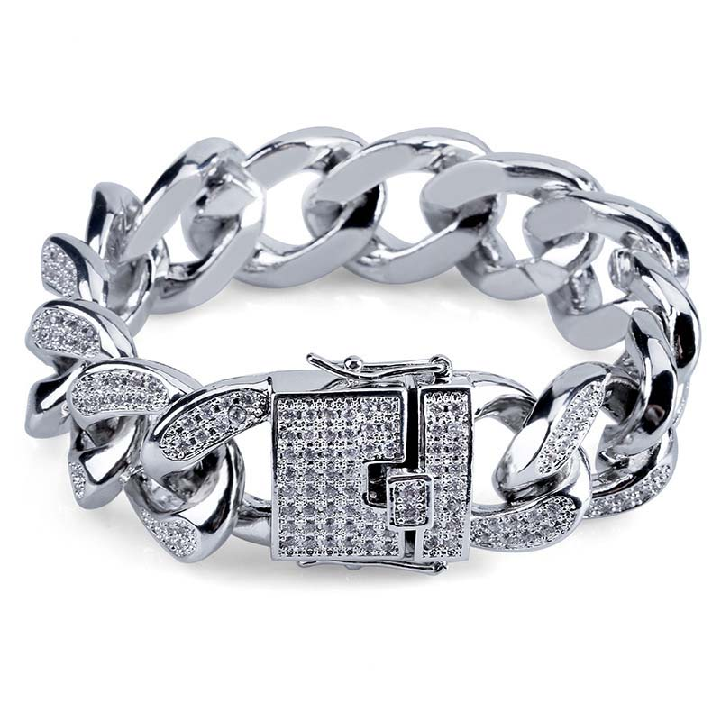 Hip Hop Men's Cuban Miami Chain Bracelet 18mm Micro AAA Cubic Zircon Iced Out Charm Hiphop Jewelry 7/8'' Drop Shipping APK1713