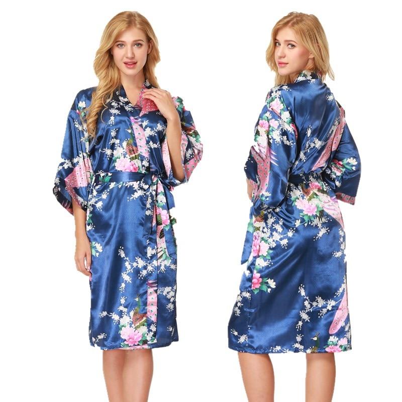 NINGMI Silk Satin Robe Nightgown for Bridesmaid Wedding Peacock Pajamas Bathrobe Babydoll Sexy Women Yukata Kimono SPA Sleepwear
