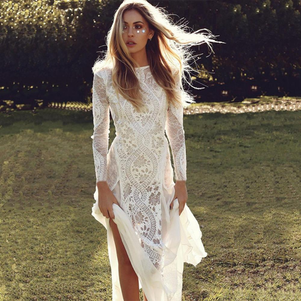 Long Sleeves Lace Wedding Dresses 2019 Bohemian Sexy Split Beach Wedding Bridal Dress Backless Bride Gown