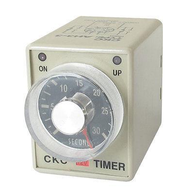 DC 12V 0-30 Seconds 30s Plastic Housing Delay Timer Time Relay 8 Pin AH3-3