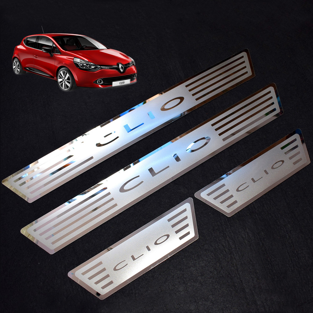 door sills for renault clio iv clio 4 2018 2017 2016 stainless steel scuff plate door sill cover. Black Bedroom Furniture Sets. Home Design Ideas