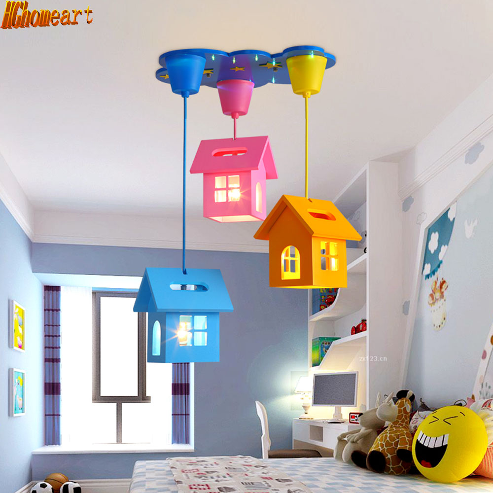 Simple cartoon creative small house led chandelier children room warm bedroom beautiful and lovely lighting creative cartoon baby cute led act the role ofing boy room bedroom chandeliers children room roof plane light absorption