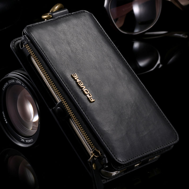 Multifunction PU Leather Flip Zipper Wallet Card Pocket Phone Protect Case Cover For iPhone 5 5S SE 6 6S Plus 7 Plus