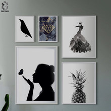 Prints Posters Wall Art Canvas Painting Wall Pictures For Living Room Nordic Decoration Smile Girl No Poster Frame(China)
