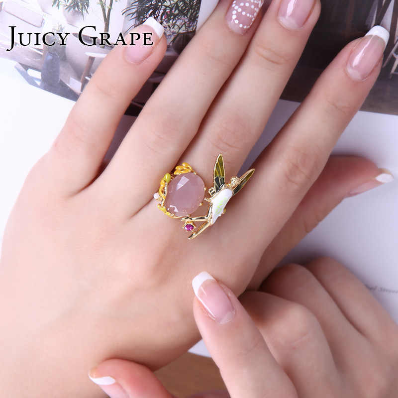 Juicy Grape Pink Crystal Angel Wings Flower Fairy Ring For Women Sweet Girl Adjustable Enamel Ring Birthday Gift Fashion Jewelry