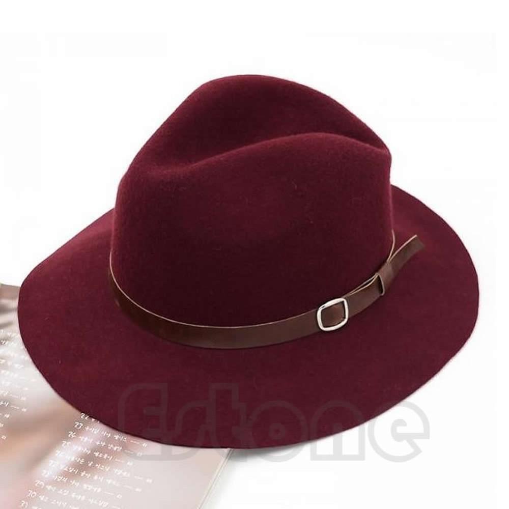 0ada2759ca127 ... Cowboy Hat Women S Fedora  2017 Fashion Design Women Warm Winter Wool  Belt Fedora Cap