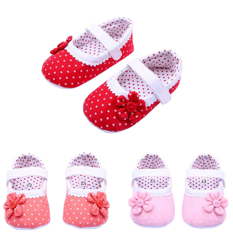 0-18 Months Girls Flower Baby Cotton cloth Shoes Soft Sole Toddler PU Leather Crib Shoes RD/11cm p# dropship