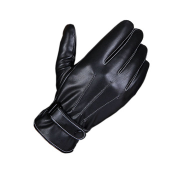 PU Leather Gloves Men Autumn Winter Warm And Velvet Padded Windproof Riding Motorcycle Student Touch Screen PM002PC-5