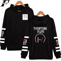 Twenty One Pilots Cartoon Hooded Hoodies Men Zipper Rock Band Hip Hop Mens Hoodies And Sweatshirts
