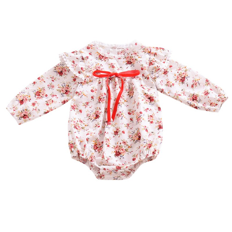 Fashion Floral Infant Baby Girls Clothing Autumn Long Sleeve Cotton Romper Toddler Kids Playsuit Outfits