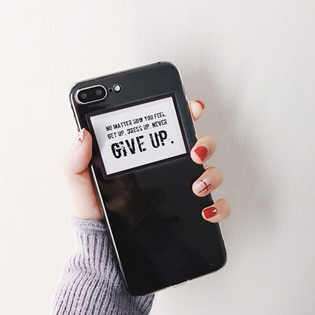 fa133b6d0 English Letters Never Give Up Case For iPhone 6 6S Plus For iPhone 7 8 Plus  Soft Clear Transparent TPU Phone Case Back Cover Ba