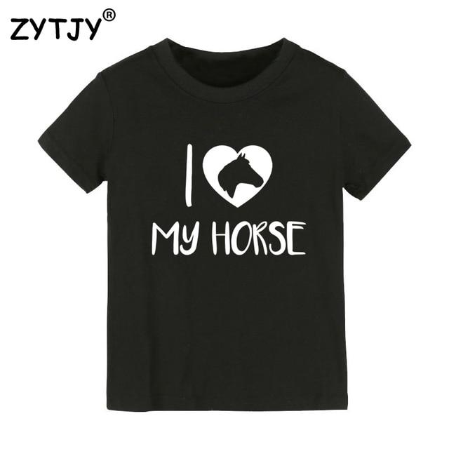 8d44d0d786e10 Eu amo o meu cavalo Impressão Caçoa o tshirt Menino Menina t camisa Para As  Crianças