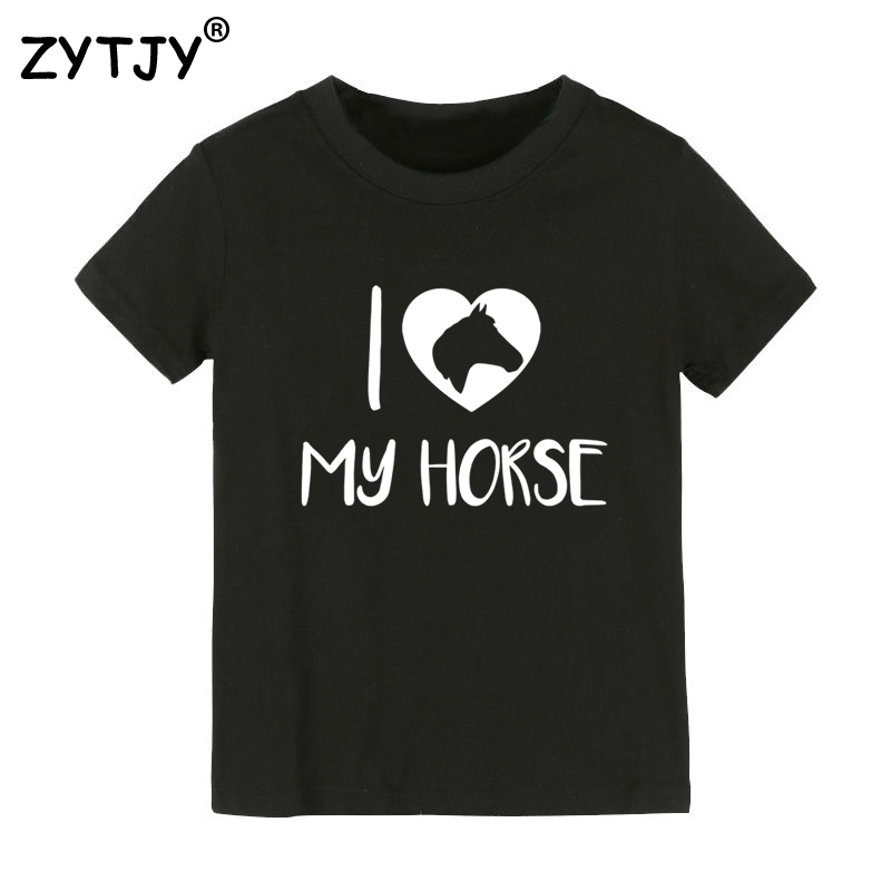 I love my horse Print Kids tshirt Boy Girl t shirt For Children Toddler Clothes Funny Top Tees Drop Ship Y-71
