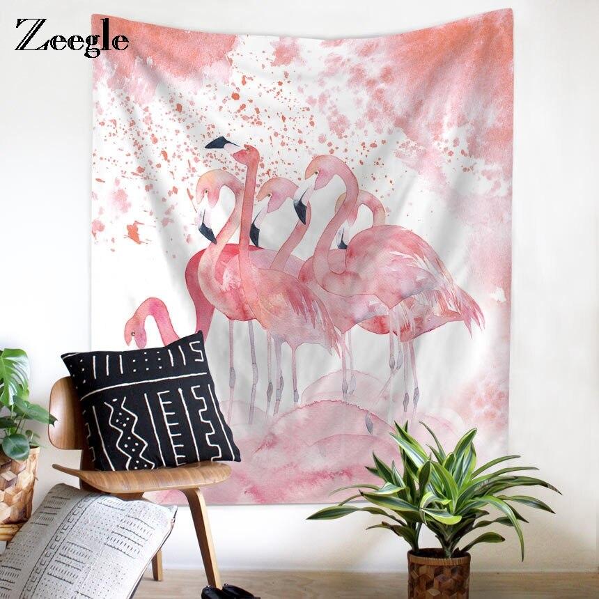 Zeegle Tropical Leaf Flamingo Pattern Cloth Wall Art Tapestry ...