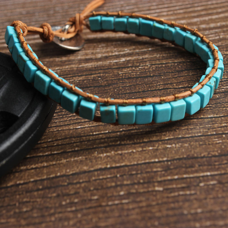 LanLi natural Jewelry 4x4mm square Blue kallaite bracelet men and women Giving presents and self use in Chain Link Bracelets from Jewelry Accessories