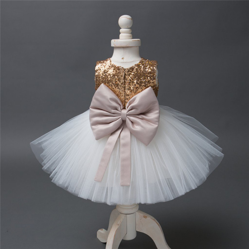 Girls Bowknot Party Gown Formal Dresses Princess Kids Baby Girl Dress Children Clothing Sequins Dresses Costume Handband 2pc 5
