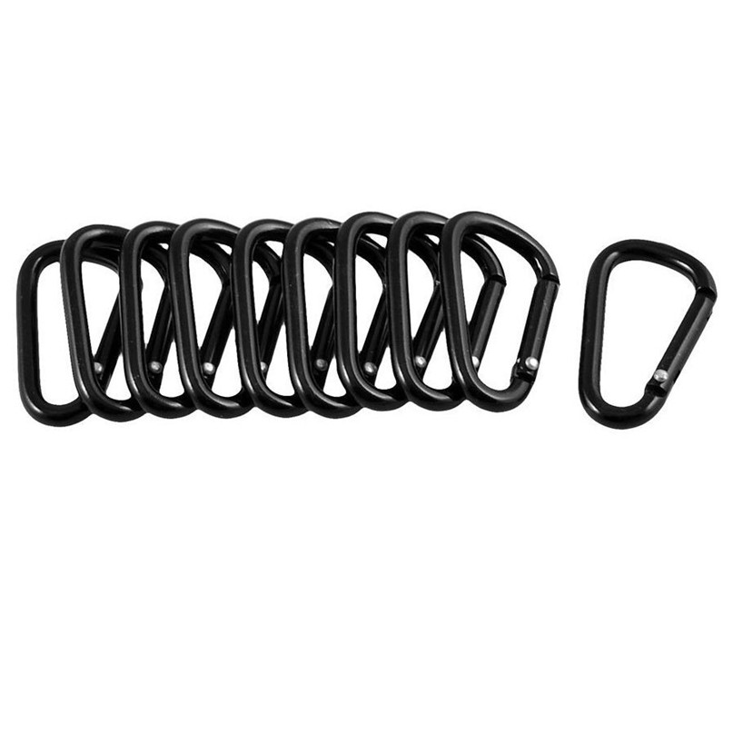 10 Pcs Climbing Accessories Black D Shaped Aluminum Alloy Carabiner Hook Keychain for Outdoor Camping Hiking Rock Rescue #3j#F