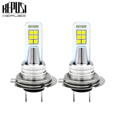 2x H7 Led Fog Lamp Bulb DRL Auto Car Motor Truck Driving Daytime Running Light LED Bulbs 3030 12SMD 12V 24V for Cars White 12W