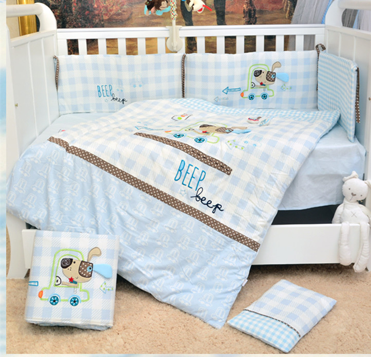 Promotion! 7PCS embroidered Cotton Blue Baby Bedding Set Cartoon Crib Bedding Set for Girls ,(2bumper+duvet+sheet+pillow) blue pink cartoon london buss star shaped polka dot print bedding set queen size for girls home decor cotton duvet quilt covers