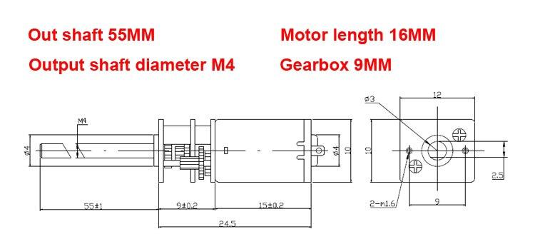 DC 12V 400 U//min N20 Micro-Getriebemotor 16 mm Welle M4x55mm Schraubenreduzierer mit Getriebe N20 Micro-Getriebemotor