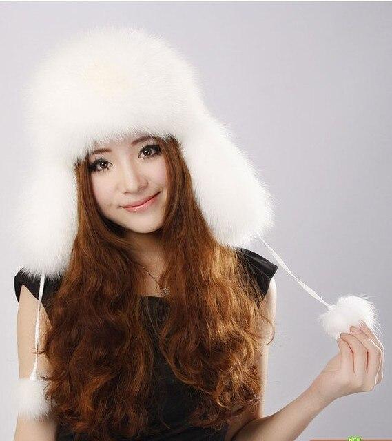 Full pelt  genuine fox/raccoon  fur Shapka for women ,white red  hat .Wholesale black autumn winter fur earflap hats H9182