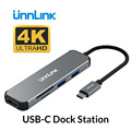 Unnlin USB C Type C док-станция к HDMI USB 3 0 Micro SD кардридер Thunderbolt 3 док-станция для MacBook pro S10 S9 S8 Dex P30 P20 mate10