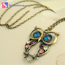 2017 New Fashion Lady Crystal Owl Pendant Necklace Vintage Long Chain Necklace Women Animal Costume Jewelry Necklaces Gift