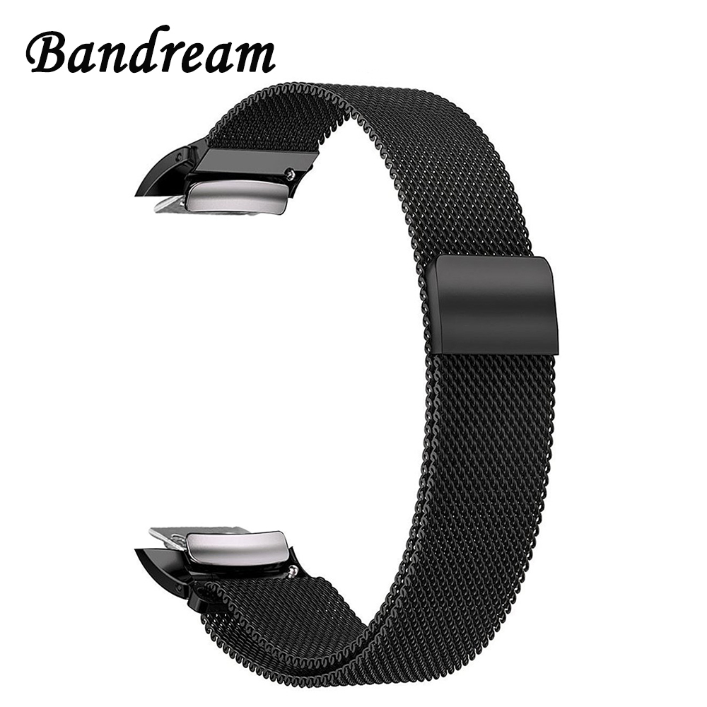 Milanese Loop Watchband + Adapters for Samsung Gear Fit 2 SM-R360 Smart Watch Band Fit2 Stainless Steel Strap Wristband Bracelet stainless steel bracelet watch band strap for samsung gear fit 2 fit2 sm r360 smartwatch replacement wristband black sliver gold