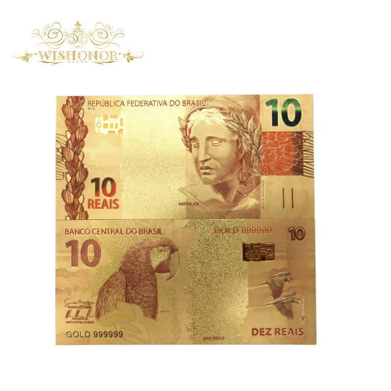 10 pçs/lote Cor Ouro Brasil 10 Reais Das Notas de Dinheiro De Papel de Notas em 24K Ouro Falso Para A Coleção