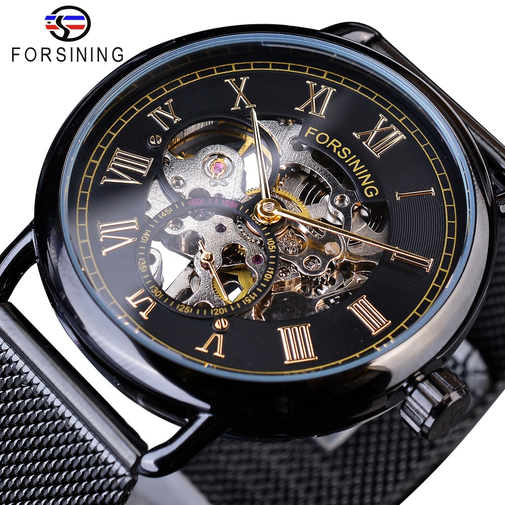 Forsining Golden Number Fashion Black Mesh Belt Skeleton Clock Male Mechanical Wristwatches for Men Top Brand Luxury Hook BuckleForsining Golden Number Fashion Black Mesh Belt Skeleton Clock Male Mechanical Wristwatches for Men Top Brand Luxury Hook Buckle