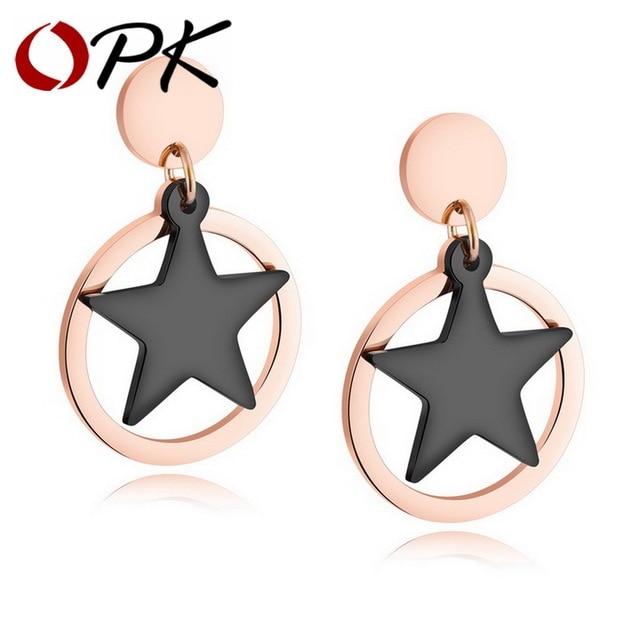 OPK Pentagram Star Dangle Earrings For Women Rose Gold Color Drop