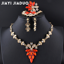jiayijiaduo African Beads Jewelry Sets Necklace Set For Women Fine Crystal Gold color Pendant Earrings Bracelets Wedding Dress