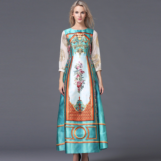 Classic Fashion Summer Women National Russian Style Stunning Printed  Patchwork Sleeve Maxi Long Loose Vintage Bohemian