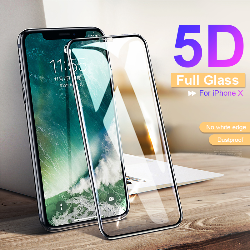 RZP 5D Curved Full Cover Screen Protector For IPhone 6 6s 7 8 Plus XR X XS 11 Pro Max Tempered Glass For IPhone X 10 Glass Film