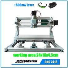 CNC 2418 + 500 mw láser GRBL DIY CNC machine, área de trabajo 24x18x4.5 cm, 3 Ejes Fresadora de Pcb, madera Router, Pvc Molino Grabador