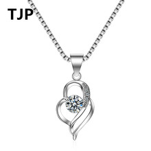 TJP Charm Clear Crystal Heart Female Necklace Pendants Pure 925 Sterling Silver Box Chain Necklace For Bride Girl Wedding Party 925 pure silver christmas bells silver pendants