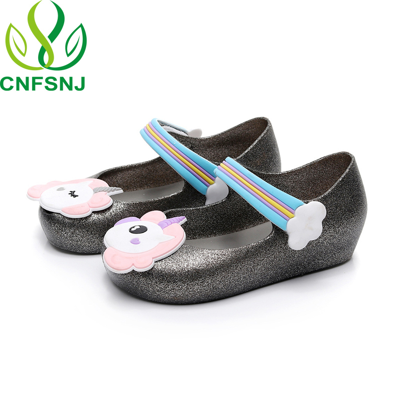 CNFSNJ 2018 New spring summer Mini Jelly Sandals Rainbow Unicorn Fish Mouth  Shoes Lovely Soft Princess Unicorns Shoes 15 18.5cm-in Sandals from Mother  ... db44ce0ce831