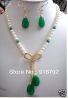 Free Shipping Exquisite White Pearl Green Jade Earrings Pendant Necklace