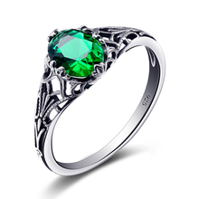 Szjinao Bulgaria Jewelry Green Vintage Charms 925 Sterling Silver Crystal Zircon Ring for Women Wedding Favors and Gifts