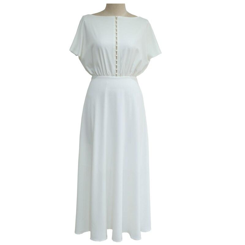 COLOREE élégant blanc femmes robe Midi 2019 Sexy évider perle dos nu mince à manches courtes robe de soirée - 3