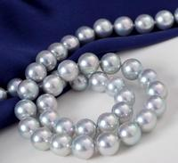 elegant Japanese 8.5 9mm AKOYA silvergreypearl necklace 18inch 14k
