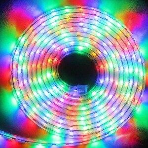 Image 5 - Led ストリップライト防水 led ac 220 12v smd 5050 60 leds/m フレキシブル led のためのルーム屋外照明 eu プラグ