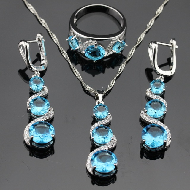 Luz Azul Criado Topázio Branco CZ Conjuntos de Jóias de Cor Prata para As Mulheres Pingente de Colar Anéis Brincos Longos Gota Dom Gratuito caixa