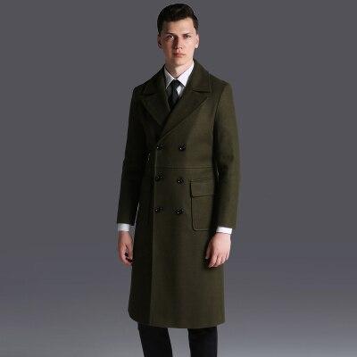 Marque hommes Double boutonnage Long laine manteau 2018 automne/hiver Extra Long affaires casual laine Outwear mâle gris pardessus